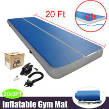 10/20Ft Air Track Gymnastics Tumbling Inflatable Mat Home Floor Outdoor Gym Pump