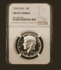 1965 SMS 50c Kennedy Cameo/NGC MS67 Cameo/DP BLK Mirror/Excellent Contrast!