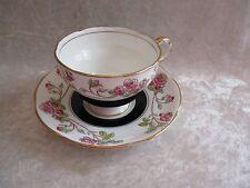 Vintage Adderley Black and  Roses China Tea Cup & Saucer