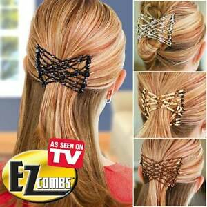2pc EZ Comb Ladies Party Hair Styling Magic Double Slide Stretchy Clip UK SELLER