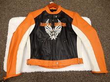HARLEY DAVIDSON black orange and white leather jacket Women's size Large