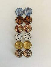6 Pairs Of 12mm Glass Cabochons #842