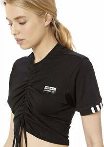 Women's adidas Originals Rouged T Shirt Tee Black  UK12, 14, 16, 18 ED5819