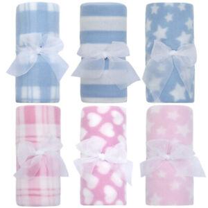 3x Newborn Baby Fleece Blanket Pink Blue Comforter Cot Gift Bot Gift Born 75x75