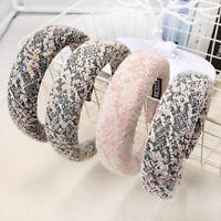 Womens Wide Cotton Print Sponge Padded Bow Hairband Headband Hair Hoop Headwrap