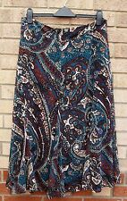 MARKS SPENCER BROWN GREEN WHITE TAUPE PAISLEY FLORAL FLIPPY FULL FLARE SKIRT XL