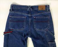 Womens Vintage Tommy Hilfiger Denim Blue Jeans Baggy Hip Hop Carpenter Size 1