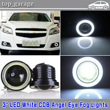 "2x High Power Car 3.0"" Projector LED Fog Lamp w/ COB Halo Angel Eyes Rings Light"