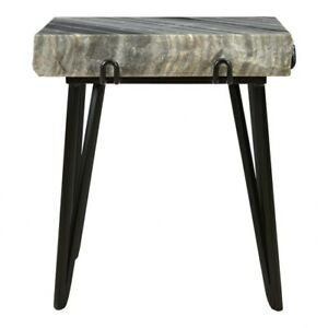 "21.5"" T Set of 2 Accent Table Solid Grey Marble Slab Black Iron Base Modern"