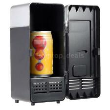 Portable USB Desktop PC Car Fridge Refrigerator Drink Cooler Warmer Black Mini