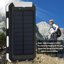 US Waterproof 200000mAh Solar Power Bank Dual USBPortable External BatteryCharge
