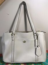 COACH SAFFIANO BEIGE TAN LEATHER LARGE TOTE HOBO HANDBAG BAG EXCELLENT NR