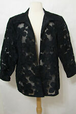 Handmade Black Thai Silk Floral Embroidered Sheer Open Jacket XL