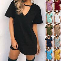 Women Choker V-Neck Short Sleeve Long T-shirt Casual Party Mini Dress Blouse L