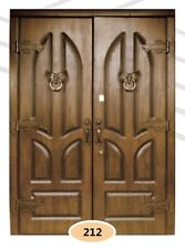 Luxury Cottage Entrance External Security Double Door. Steel Frame. Oak Wood.