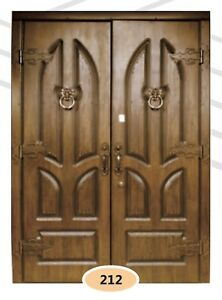 Luxury Cottage Entrance External Security Double Door. Steel Frame. Oak Wood.