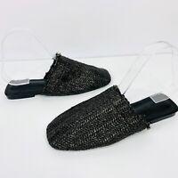 KiiK Luxe Womens Raffia Foss Mules Flats Slides Black Natural Size 39 RRP $84.95