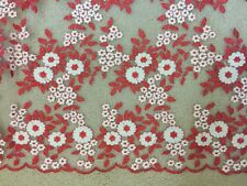 1 Yard Gorgeous Embroidered Netting Tulle Red and White Flowers Wedding Fabric