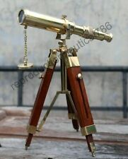 Vintage Solid Brass Marine Telescope Spy With Wooden Tripod Nautical Navy Ship