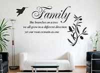 Family Like Branches On A Tree, Wall Quote, Sticker, Wall Art Decal HUGE SIZE c8