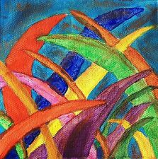 Original Acrylic Painting on Canvas Blades of Glory Rainbow Colored Grass Leaves