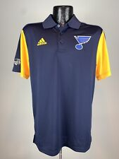 Men's Adidas Climachill St. Louis Blues Navy Blue & Yellow NHL Hockey Polo S NWT