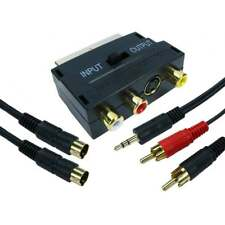10m Long SCART to SVHS Three RCA & Stereo 3.5mm Jack Connection Adapter Kit