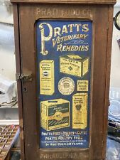 antique pratts veterinary medicine cabinet remedies horses cattle poultry Sign
