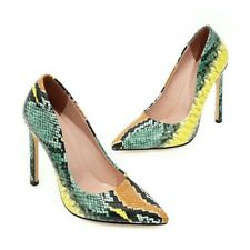 Ladies Super High Heels Snakeskin Pattern Pointy Toe Slip On Pumps Shoes Party