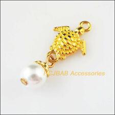 10Pcs Gold Plated Animal Tortoise White Glass Beads Charms Pendants
