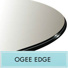 """24"""" Contemporary Clear Round Tempered Glass Table Top 1/2"""" thick - Ogee Edge"""