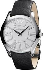 EMPORIO ARMANI CLASSIC WHITE DIAL BLACK LEATHER BAND MEN'S WATCH AR2020 $245