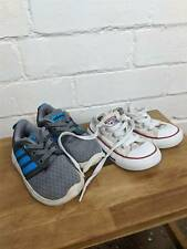 2 Pairs of Baby Boys Shoes White Converse & Grey Adidas Trainers UK 6 / 6 .5
