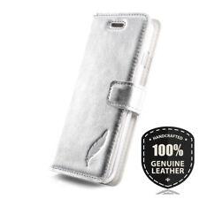 SURAZO® Premium Echtes Ledertasche Schutzhülle Wallet Case - Farbe: Silber Leder