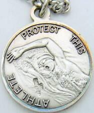 """MRT Saint St Sebastian Mens Sterling Silver Swimming Medal w Chain Boxed 3/4"""""""