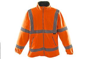 HI VIZ VIS MEDUIM FLEECE JACKET HIGH QUALITY WORKWEAR WATERPROOF ORANGE 75% OFF