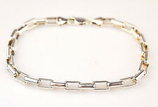 "MEN'S STERLING SILVER ROUNDED RECTANGULAR LONG BOX LINK 9"" BRACELET FROM ITALY"