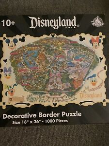 "Disney 1000 Pieces Disneyland Park Decorative Border Puzzle 18"" x 26"" - counted"
