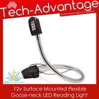 12V 6W LED GOOSE NECK FLEXIBLE READING LIGHT & SWITCH - BOAT/CARAVAN/BED/MARINE