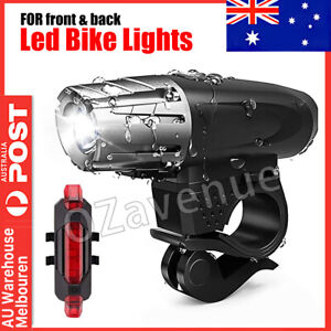 Waterproof Rechargeable LED Bike Bicycle Light USB Cycle Front Back Headlight AU