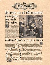 Harry Potter The Daily Prophet Break In At Gringotts Flyer/Poster Prop/Replica