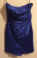 Size S woman's royal blue strapless evening dress with folded side flounce