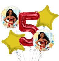 New Disney Moana 5th Birthday Balloon Bouquet 5 pieces