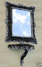 Wall Mirror with Shelf Bracket Rectangular Black Silver 45x37 Bathroom