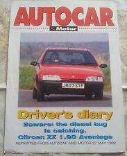 CITROEN ZX AVANTAGE 1.9D AUTOCAR MOTORE RISTAMPA BIADESIVO foglio unico maggio'92