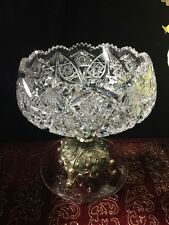 RARE AMERICAN BRILLIANT ABP CUT GLASS BOWL W/ METAL STAND 7LBS WT Finest Quality