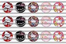 (60) Hello Kitty v2 Bottle Cap Image Pre-Cut 1 inch