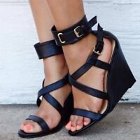 Fashion Women's Wedge High Heel Sandals Open Toe Casual Ankle Strap Buckle Shoes