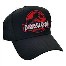 Jurassic Park Movie Red Logo Sci Fi Patch Adjustable Snapback Black Cap Hat