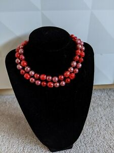 Stunning Vintage MARVELLA colored Red Pearl pomegranate seed necklace choker